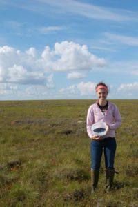 Bridget picking berries on the tundra.