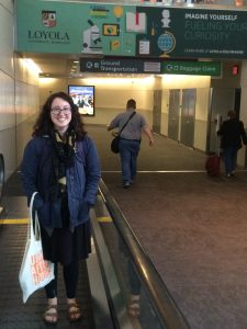 Woman smiling in airport