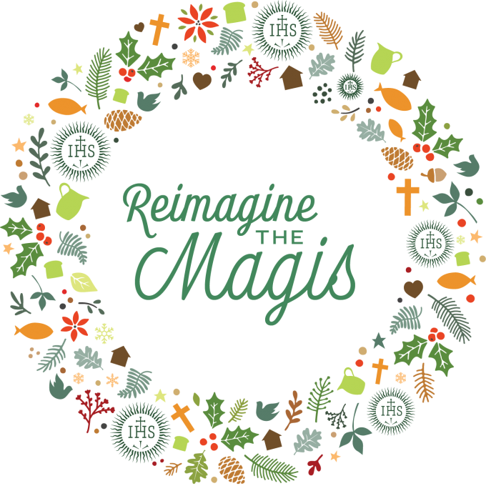 wreath shape with festive elements like holly, stars, pine cones, and core values icons. Insde wreath says Reimagine the Magis